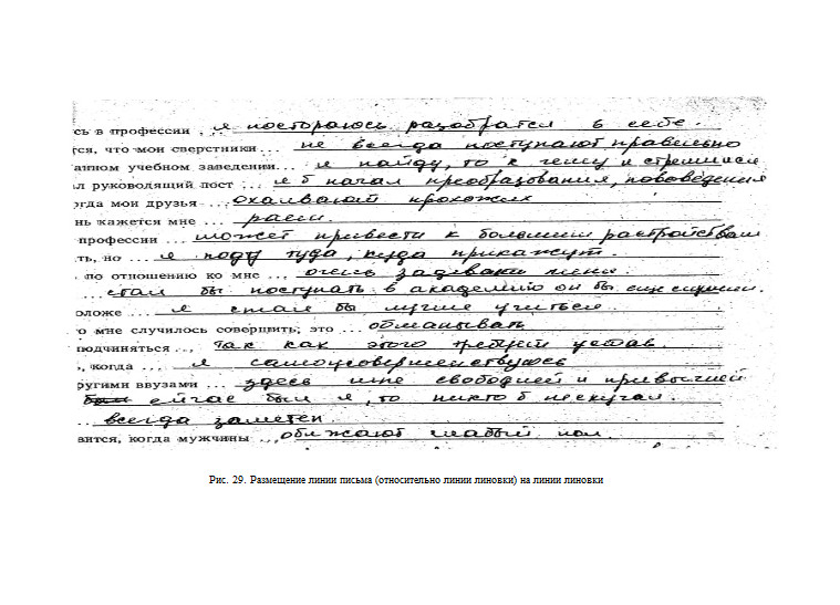 Размещение нижней линии письма относительно линии линовки