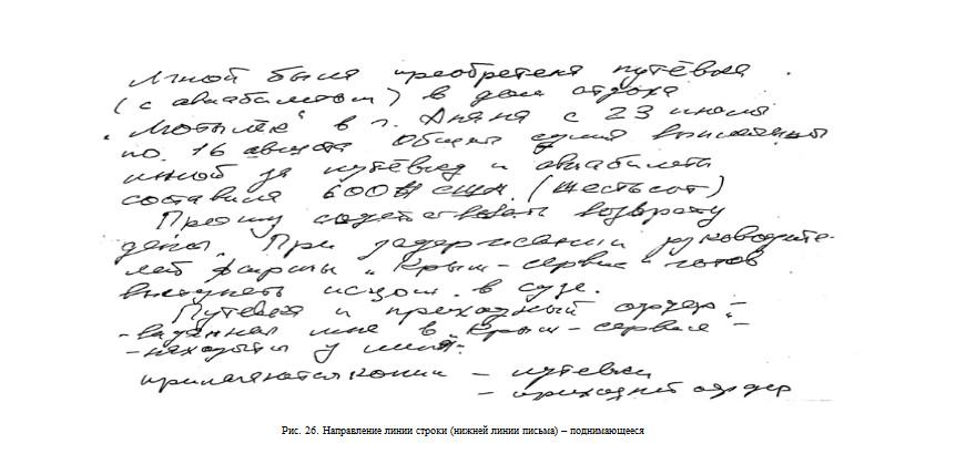 Направлении линии строки в почерке